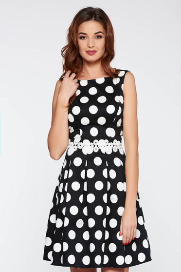 LaDonna black office flaring cut dress slightly elastic cotton with dots print