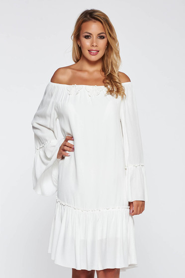 PrettyGirl white casual dress with easy cut long sleeved