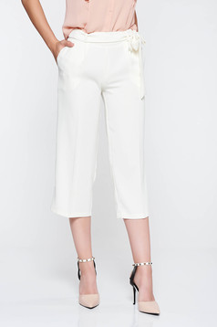 PrettyGirl white high waisted flaring cut trousers accessorized with tied waistband