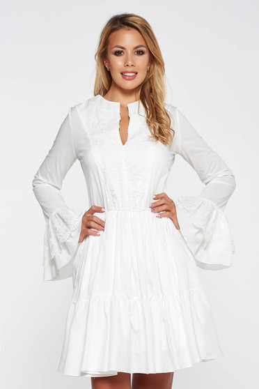 PrettyGirl white casual dress flaring cut nonelastic cotton with lace details