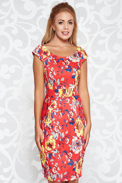 Red elegant daily dress with tented cut cotton