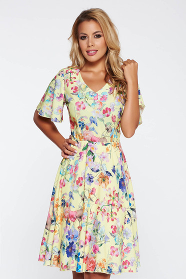 Yellow elegant daily cloche dress with floral prints with elastic waist