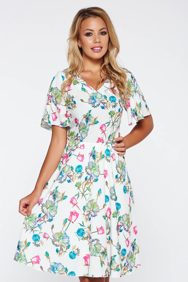 White elegant daily cloche dress with floral prints with elastic waist