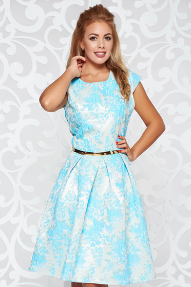 Lightblue occasional cloche dress with inside lining accessorized with tied waistband from jacquard