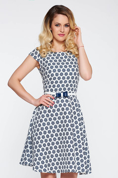 Darkblue daily cloche dress slightly elastic cotton accessorized with tied waistband
