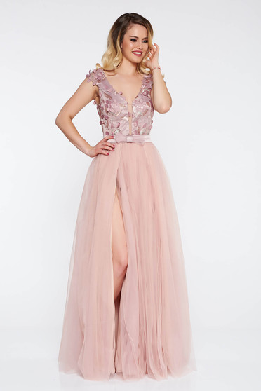 Artista lila occasional from tulle dress with inside lining with push-up cups with floral details with 3d effect