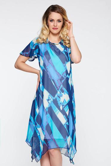 Blue elegant with easy cut asymmetrical dress transparent chiffon fabric