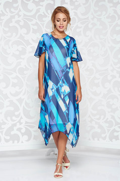Blue elegant with easy cut asymmetrical dress transparent chiffon fabric