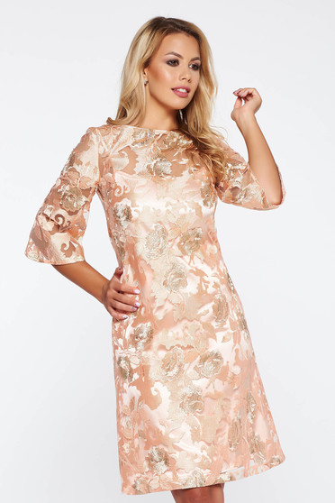 LaDonna peach occasional a-line dress from laced fabric short cut