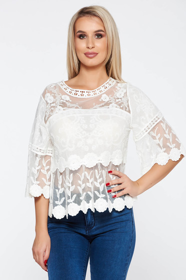 White casual flared women`s blouse nonelastic cotton from laced fabric