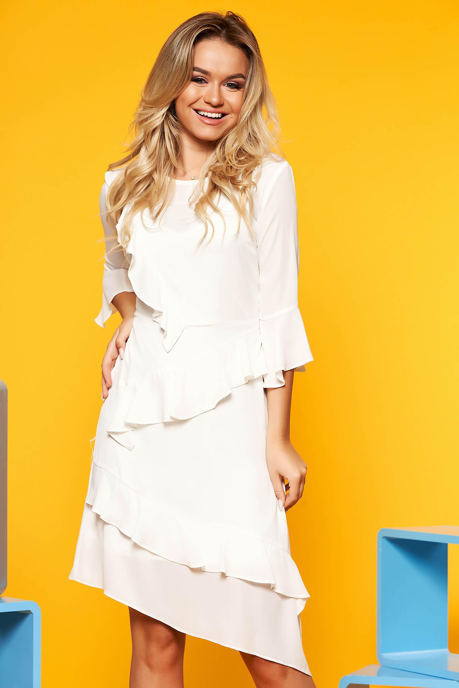 Rochie alba SunShine eleganta asimetrica cu croi in a din voal cu volanase