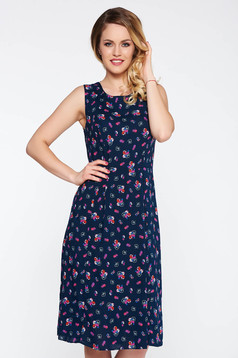 Darkblue daily cloche dress with floral prints thin fabric