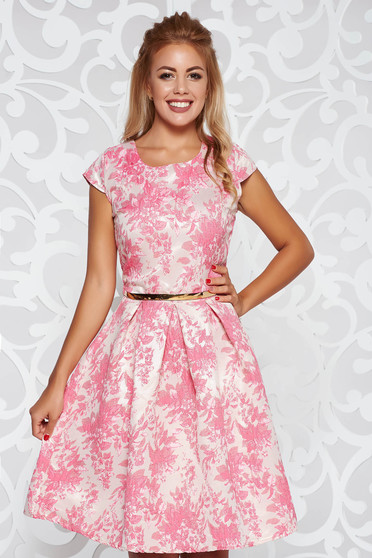 Pink occasional cloche dress with inside lining accessorized with tied waistband from jacquard