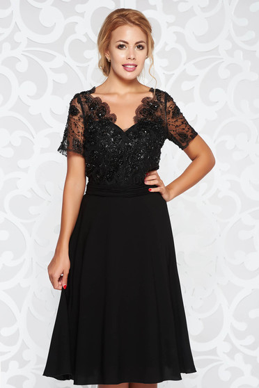 Black occasional cloche dress voile fabric net with small beads embellished details
