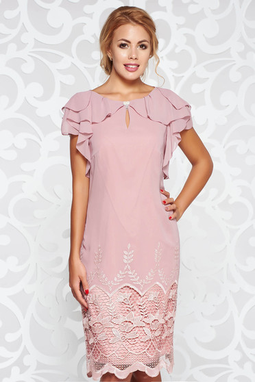 Rosa occasional flared dress with inside lining with lace details with ruffle details airy fabric