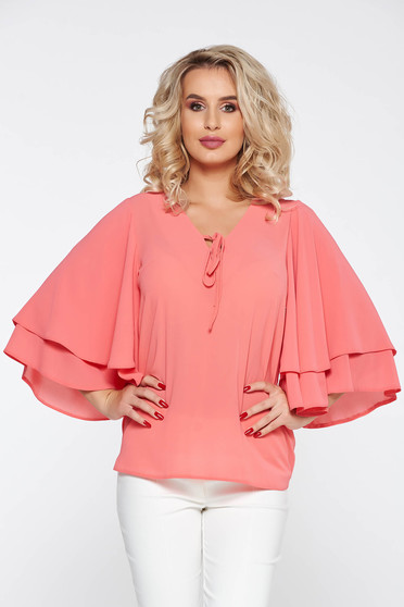 StarShinerS peach elegant flared women`s blouse nonelastic fabric thin fabric with v-neckline