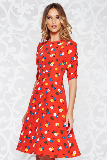 StarShinerS red casual cloche dress thin fabric with floral prints