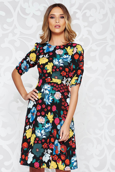 StarShinerS black casual cloche dress thin fabric with floral prints