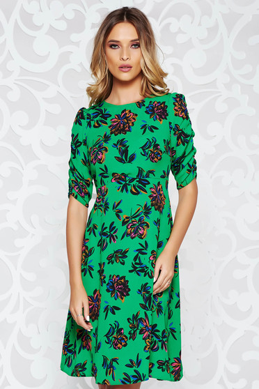 StarShinerS green casual cloche dress thin fabric with floral prints