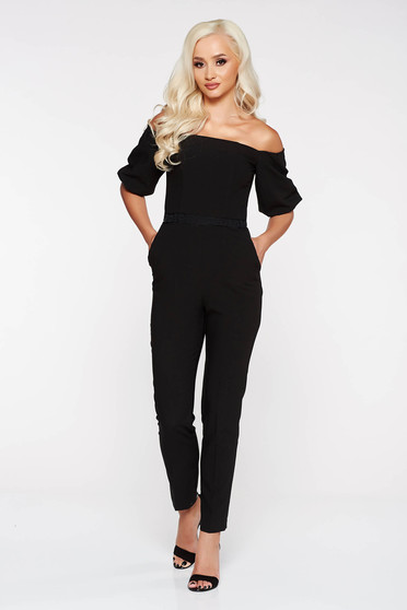StarShinerS black elegant jumpsuit slightly elastic fabric with tented cut with lace details