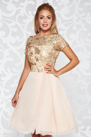Cream occasional cloche dress from laced fabric with sequin embellished details