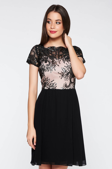 Black occasional cloche dress from laced fabric with sequin embellished details