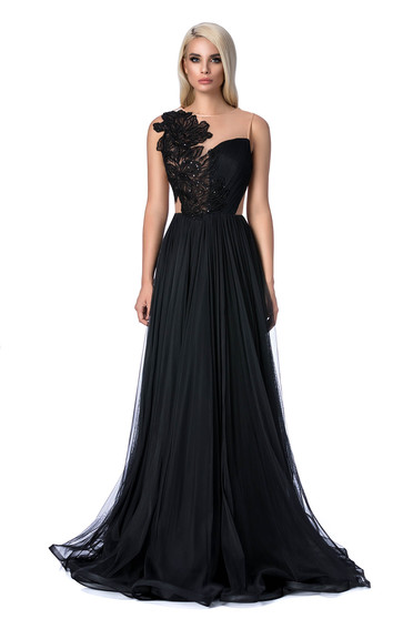 Ana Radu black occasional cloche dress long with push-up cups with embroidery details