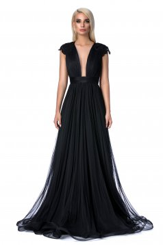 Ana Radu black occasional cloche dress with small beads embellished details with embroidery details with push-up cups