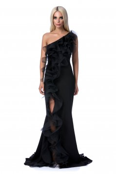Ana Radu black occasional dress with tented cut soft fabric with ruffle details long