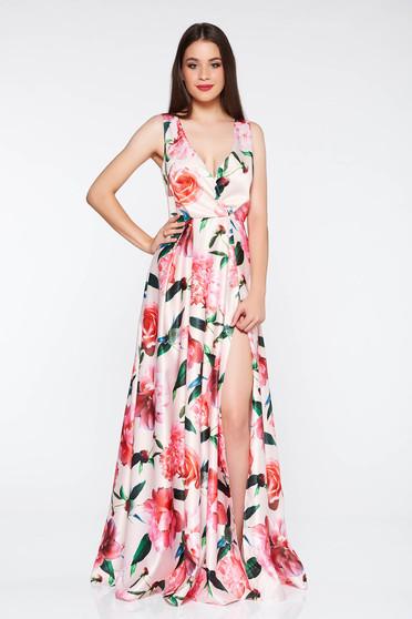 Artista lightpink dress occasional cloche from satin fabric texture with v-neckline