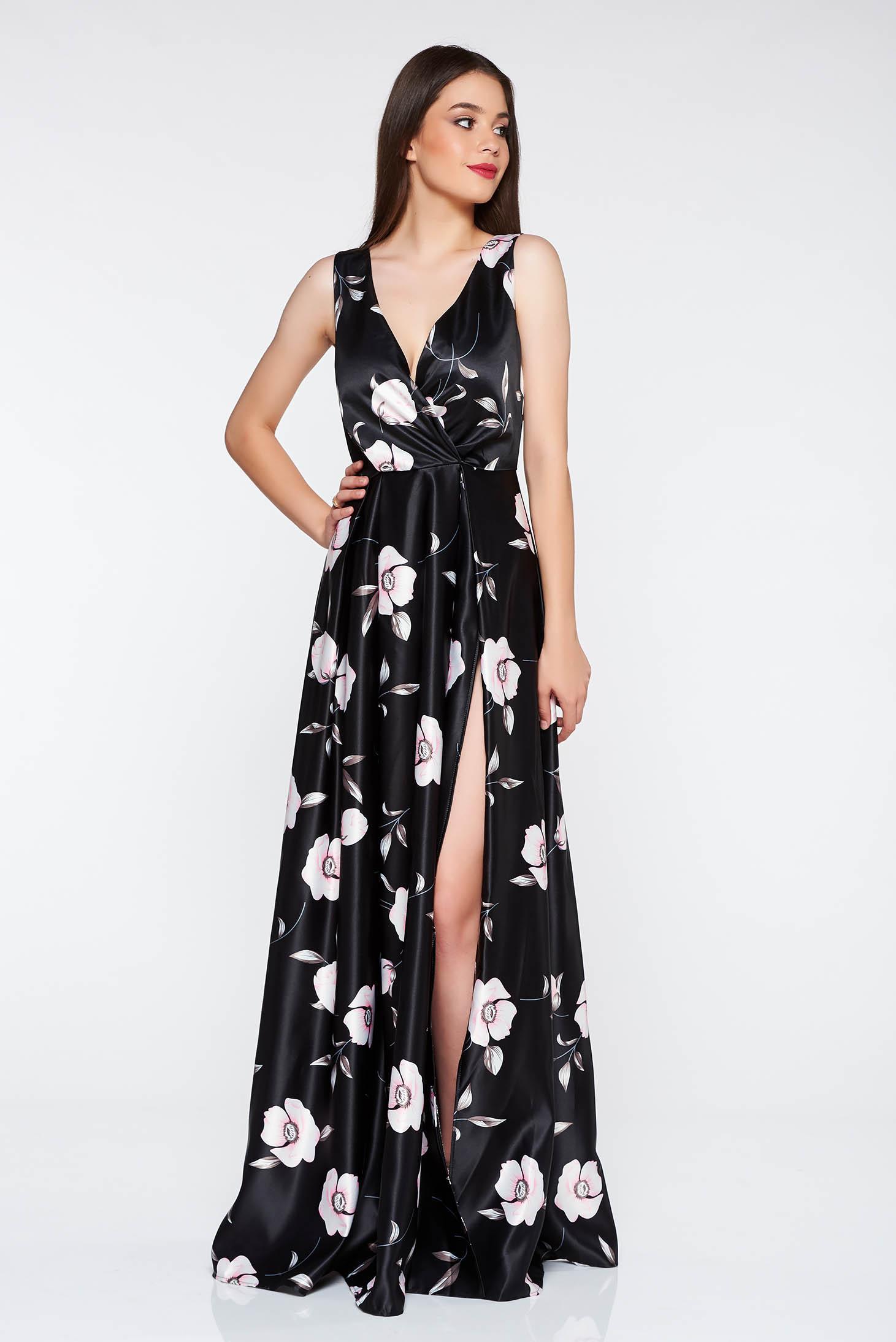 9c7ea4308d Artista fekete alkalmi harang ruha szatén anyagból v-dekoltázzsal