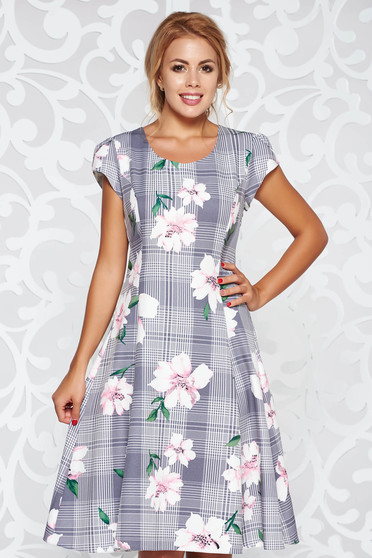 Grey elegant cloche dress soft fabric with floral prints
