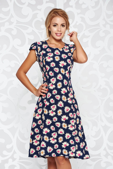 Darkblue casual cloche dress soft fabric with rounded cleavage