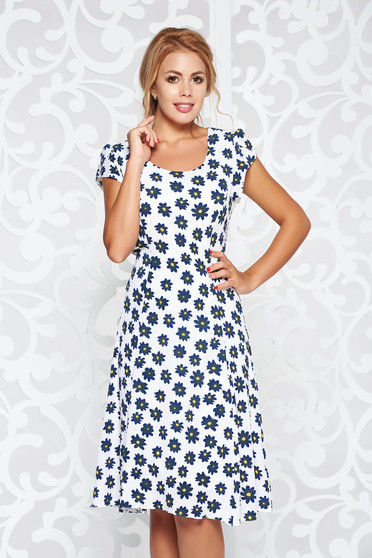 White casual cloche dress thin fabric with inside lining with floral prints