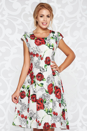 Grey casual cloche dress thin fabric with floral prints with inside lining