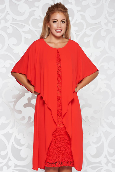 Red occasional midi dress from laced fabric with inside lining voile overlay