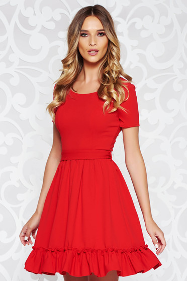 Red daily cloche dress from elastic fabric from soft fabric accessorized with tied waistband