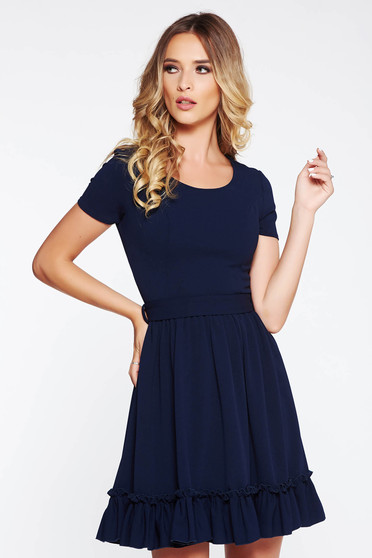 Darkblue daily cloche dress from elastic fabric from soft fabric accessorized with tied waistband