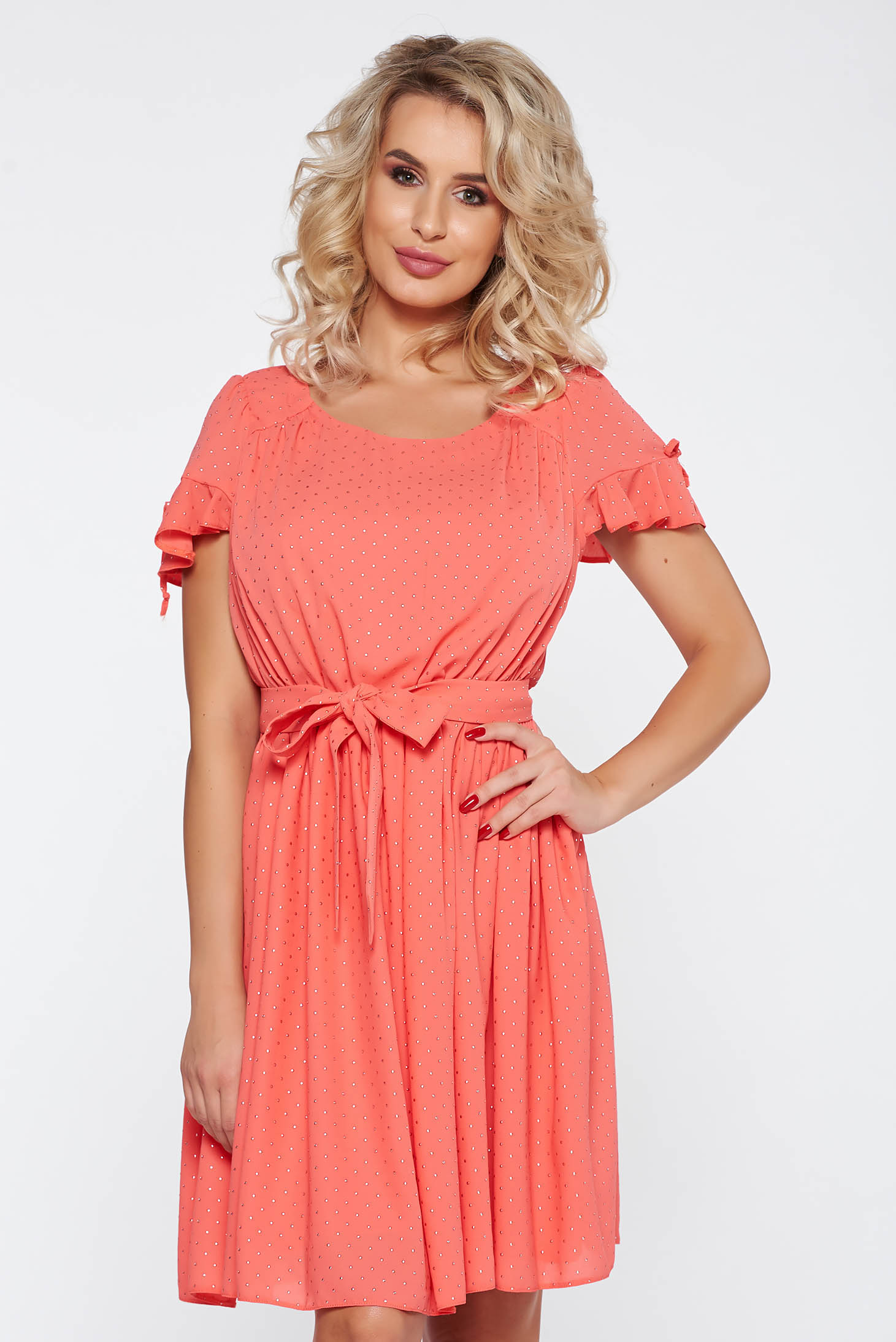 77730ccfd5 Coral elegant flaring cut dress with cut-out sleeves with elastic waist