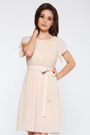 Cream elegant dress transparent chiffon fabric with elastic waist