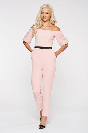 StarShinerS rosa elegant on the shoulders jumpsuit slightly elastic fabric with tented cut with lace details