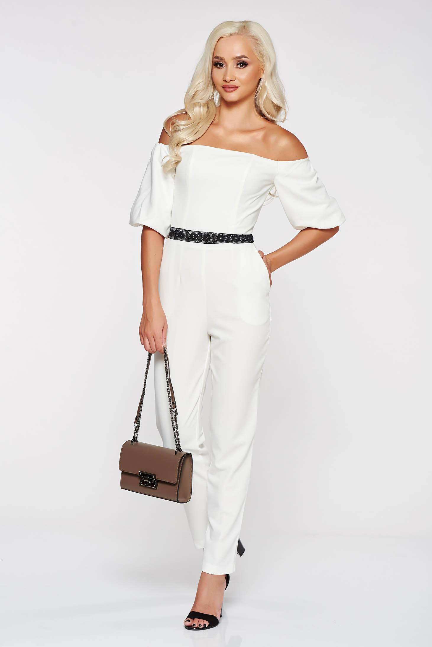 ded9533f2956 StarShinerS white elegant on the shoulders jumpsuit slightly elastic ...