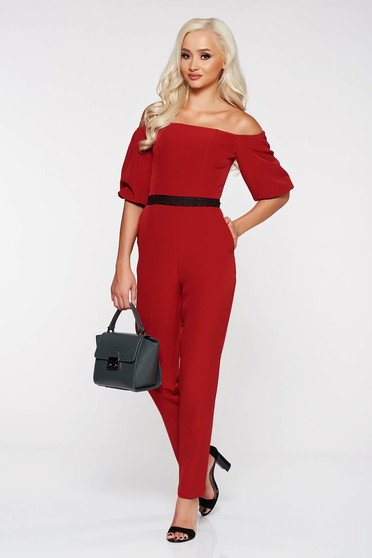 StarShinerS burgundy elegant on the shoulders jumpsuit slightly elastic fabric with tented cut with lace details