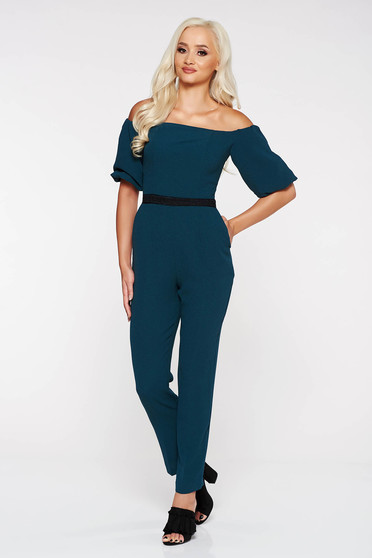 StarShinerS darkgreen elegant on the shoulders jumpsuit slightly elastic fabric with tented cut with lace details