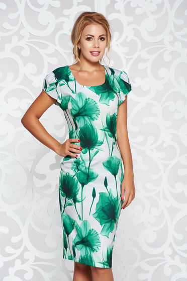 Green office pencil dress with floral prints slightly elastic fabric