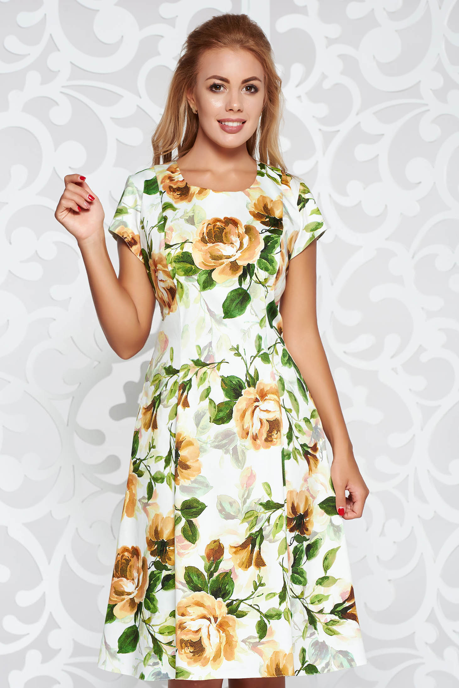 Brown daily cloche dress cotton midi with floral prints