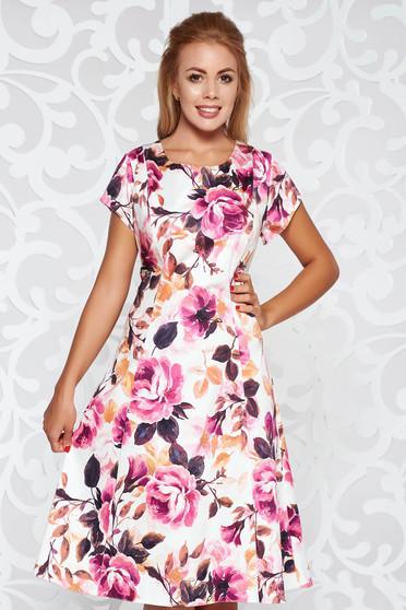 Purple daily cloche dress cotton midi with floral prints