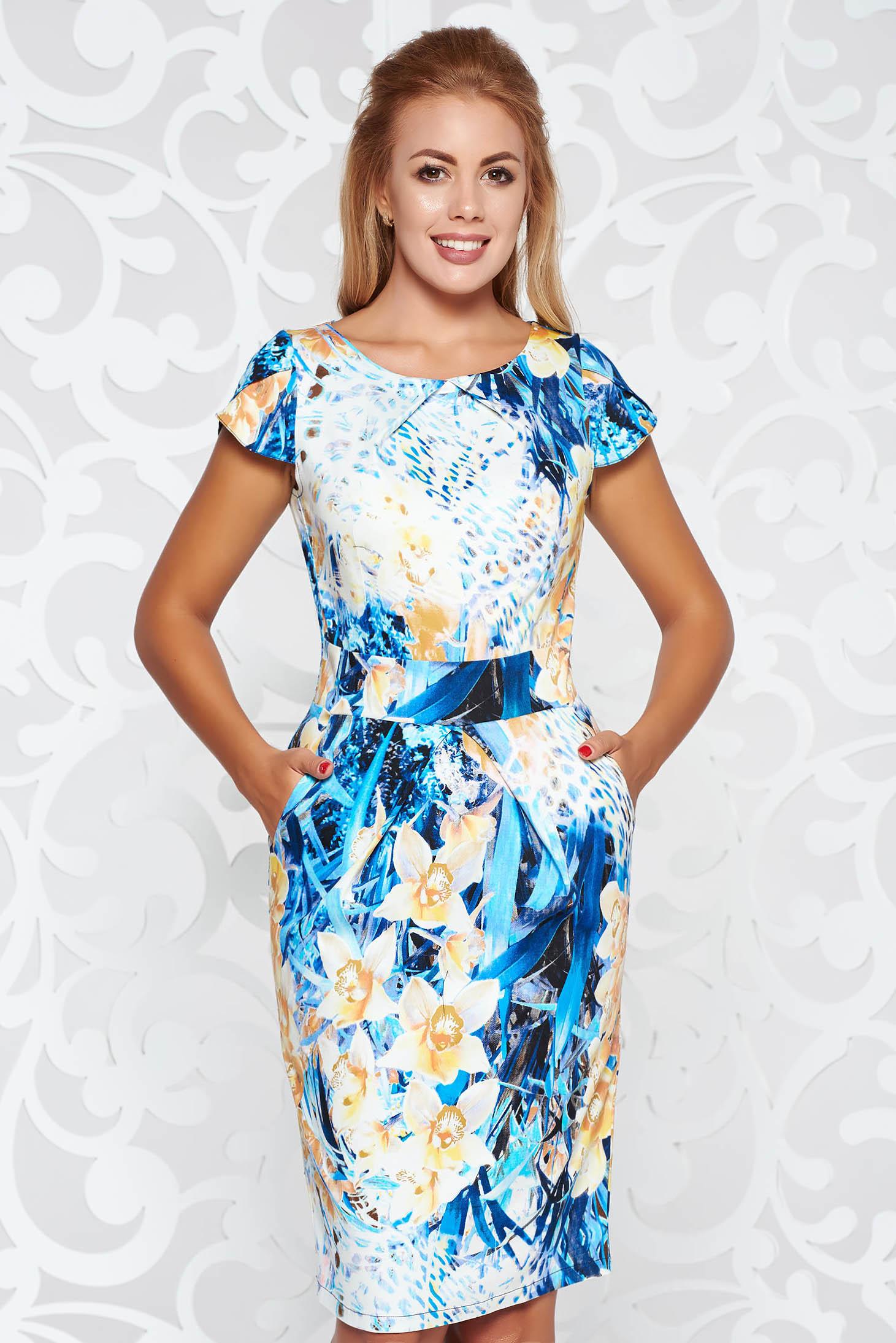 Rochie mustarie de zi tip creion bumbac usor elastic cu imprimeuri florale