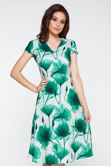 Green elegant cloche dress slightly elastic fabric with floral prints with v-neckline
