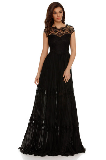 Black occasional cloche dress with lace details folded up